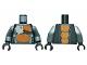 Part No: 973pb1190c01  Name: Torso Ninjago Snake with Silver Badge and Orange Scales Pattern (Skalidor) / Dark Bluish Gray Arms / Black Hands