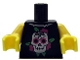 Part No: 973pb1235c01  Name: Torso Skull and Dark Pink Roses Pattern / Yellow Arms / Yellow Hands