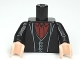 Part No: 973pb1255c01  Name: Torso Harry Potter Long Coat and Vest, Dark Red Shirt and Tie Pattern / Black Arms / Light Flesh Hands