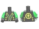 Part No: 973pb1259c01  Name: Torso Ninjago Robe with Green and Gold Sash Pattern / Green Arms / Black Hands