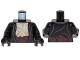Part No: 973pb1275c01  Name: Torso LotR Jacket over Bare Chest, Dark Brown Sash Pattern / Black Arms / Black Hands