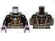 Part No: 973pb1357c01  Name: Torso Armor with Dark Bluish Gray Belts, Gold Raven Pendant and Dark Azure Round Jewel (Chi) Pattern / Black Arms / Dark Purple Hands