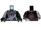Part No: 973pb1579c01  Name: Torso Ninjago Robe with Purple Sash, Mechanical Parts and Silver Saw Blade Pattern / Black Arm Left / Flat Silver Arm Right / Black Hands