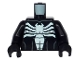 Part No: 973pb1622c01  Name: Torso Spider-Man Dark Bluish Gray Muscles Outline with White Spider Front and Back Pattern (Venom) / Black Arms / Black Hands
