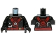Part No: 973pb2077c01  Name: Torso Ninjago Red and Gold Straps and Belt, Round Emblem, Weapons and Dark Red Undershirt Pattern / Black Arms / Black Hands