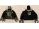 Part No: 973pb2113c01  Name: Torso Jacket over Tan Shirt, Gray Fur, Pendant, Japanese Logogram '師' (Teacher) on Back Pattern / Black Arms / Dark Bluish Gray Hands