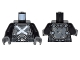 Part No: 973pb2267c01  Name: Torso Body Armor with Straps and White Crossbones Pattern / Black Arms / Dark Bluish Gray Hands
