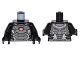 Part No: 973pb2272c01  Name: Torso Pearl Dark Gray and Silver Armor Plates with White and Red Reactor Pattern / Black Arms / Black Hands