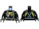 Part No: 973pb2284c01  Name: Torso Fire Scuba Diver with Utility Belt, Scuba Hose, Regulator, Fire Badge and Crossed Straps on Back Pattern / Black Arms / Dark Bluish Gray Hands