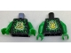 Part No: 973pb2602c01  Name: Torso Ninjago Green and Lime Airjitzu Electricity and Gold Asian Character (斗) / Dragon Symbol on Back Pattern / Green Arms / Green Hands