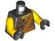 Part No: 973pb3128c01  Name: Torso Breaking Rocks and Orange Sash Pattern (Earth Ninja) / Yellow Arms / Black Hands
