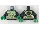 Part No: 973pb3179c01  Name: Torso Ninja Robe with Gold Hems and Sash, Green Scarf, Spinjitzu Electricty Burst Pattern / Black Arms / Green Hands