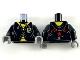 Part No: 973pb3589c01  Name: Torso Robe with Yellow Lining, Hufflepuff Badge and Yellow Shirt Pattern / Black Arms / Dark Bluish Gray Hands