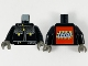 Part No: 973pb3909c01  Name: Torso Studios Protective Leather Jacket Zipper Pattern (Stuntman) - LEGO Logo on Back / Black Arms / Dark Gray Hands