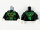 Part No: 973pb3932c01  Name: Torso Robe, Bright Green Mesh Shawl, Lime Celtic Knot and Ninjago Logogram 'D' 'R' Pattern / Black Arms / White Hands