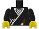 Part No: 973px11c01  Name: Torso Castle Ninja Wrap, Brown Dagger, Silver Star, Silver Zigzags Pattern / Black Arms / Yellow Hands