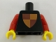 Part No: 973px45newc01  Name: Torso Castle Classic Shield Quartered Red/Yellow Pattern, Inside with Ribs (Reissue) / Red Arms / Yellow Hands