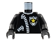 Part No: 973px9c01  Name: Torso Police Leather Jacket, White Zippers, Yellow Star Badge Pattern / Black Arms / Black Hands