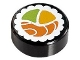 Part No: 98138pb038  Name: Tile, Round 1 x 1 with Sushi Salmon Maki Roll Pattern