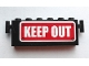 Part No: BA058pb01  Name: Stickered Assembly 6 x 1 x 2 with ' KEEP OUT ' Pattern (Sticker) - Set 4850 - 1 Brick 1 x 6, 1 Brick 1 x 4, 2 Brick Modified 1 x 1 with Handle