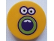 Part No: 14769pb314  Name: Tile, Round 2 x 2 with Bottom Stud Holder with Sunflower Face, Dark Purple and Lime Outlined Open Mouth and Eyes Pattern