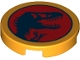 Part No: 14769pb463  Name: Tile, Round 2 x 2 with Bottom Stud Holder with Jurassic World Logo Pattern