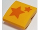 Part No: 15068pb187  Name: Slope, Curved 2 x 2 with Two Orange Stars on Transparent Background Pattern (Sticker) - Set 40228