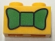 Part No: 3004pb153  Name: Brick 1 x 2 with Green Bow Tie Pattern