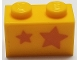 Part No: 3004pb195  Name: Brick 1 x 2 with Orange Stars, Big Star towards Right Side Pattern (Sticker) - Set 40228