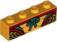 Part No: 3010pb298  Name: Brick 1 x 4 with Red, Yellow, Dark Turquoise and Gold Robe Pattern (BrickHeadz Monkey King Abdomen)