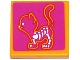Part No: 3068bpb0911  Name: Tile 2 x 2 with Groove with X-Ray Cat Skeleton on Magenta Background Pattern (Sticker) - Set 41085