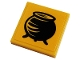 Part No: 3068bpb1673  Name: Tile 2 x 2 with Groove with Black Cauldron Pattern (Sticker) - Set 76383