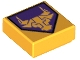 Part No: 3070bpb108  Name: Tile 1 x 1 with Groove with Bright Light Orange Bull on Dark Purple Pentagonal Shield Pattern