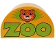 Part No: 31213pb014  Name: Duplo, Brick 2 x 4 x 2 Curved Top with 'Zoo' and Lion Head Pattern