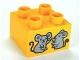 Part No: 3437pb051  Name: Duplo, Brick 2 x 2 with 2 Mice Pattern