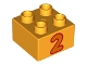 Part No: 3437pb063  Name: Duplo, Brick 2 x 2 with Number 2 Orange Pattern