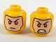 Part No: 3626cpb2044  Name: Minifigure, Head Dual Sided Balaclava with Light Nougat Face, Red Eyes, Firm / Angry with Gritted Teeth Pattern - Hollow Stud