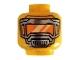 Part No: 3626cpb2557  Name: Minifigure, Head Pearl Dark Gray Mask with Orange Visor Pattern - Hollow Stud