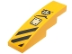 Part No: 61678pb086L  Name: Slope, Curved 4 x 1 with Black Danger Stripes, Panel and Chima Logo Pattern Model Left Side (Sticker) - Set 70014