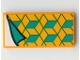 Part No: 87079pb1010  Name: Tile 2 x 4 with Blanket with Dark Turquoise and Yellow Diamonds, White Bedsheet Pattern (Sticker) - Set 41381