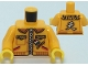Part No: 973pb4358c01  Name: Torso Jacket with Zipper, Animal Print Pockets and Hood, Chinese Logogram '天' (Sky) Pattern / Bright Light Orange Arms / Yellow Hands