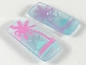 Part No: clikits087pb01  Name: Clikits Icon, Rectangle 3L with Pin with Bright Pink Palm Tree and Aqua Sunset Pattern