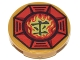 Part No: 14769pb065  Name: Tile, Round 2 x 2 with Bottom Stud Holder with Airjitzu Fire Symbol in Red Octagon Pattern