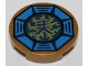 Part No: 14769pb066  Name: Tile, Round 2 x 2 with Bottom Stud Holder with Airjitzu Lightning Symbol in Blue Octagon Pattern