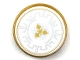Part No: 14769pb217  Name: Tile, Round 2 x 2 with Bottom Stud Holder with Silver Crenelations and Gold Throwing Star Pattern