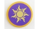 Part No: 14769pb236  Name: Tile, Round 2 x 2 with Bottom Stud Holder with Gold Sun on Dark Purple Background Pattern