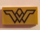 Part No: 3069bpb0633  Name: Tile 1 x 2 with Groove with Black Wonder Woman Logo Pattern
