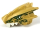 Part No: 40933pb01  Name: Dragon Head (Ninjago) Upper Jaw with White Teeth, Gold Eyes, and Dark Green Decorations Pattern