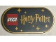 Part No: 66857pb009  Name: Tile, Round 2 x 4 Oval with LEGO Logo, 'Harry Potter', and Stars on Black Background Pattern