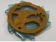Part No: 69567pb02  Name: Ring 3 x 3 with Dragon Head and Satin Trans-Light Blue Flames Pattern (Ninjago Wave Amulet)